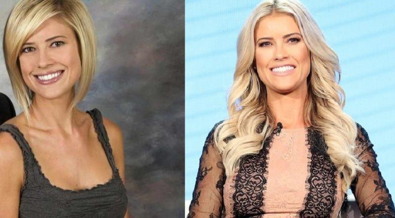 An image of Christina El Moussa prior to (left) as well as after (right)